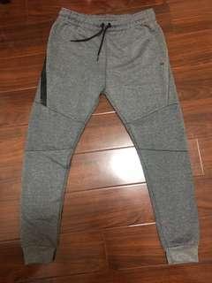 灰色防水拉鍊運動修身束口褲