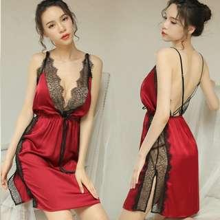 [READY STOCK] Ice Silk Pyjamas Babydoll Sleepwear Sexy Lingerie S448 (2 Colour)