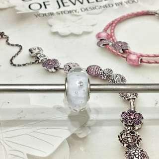 Pandora white bubble glass charm