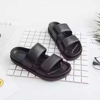 Black Double Strap Sandal Slides