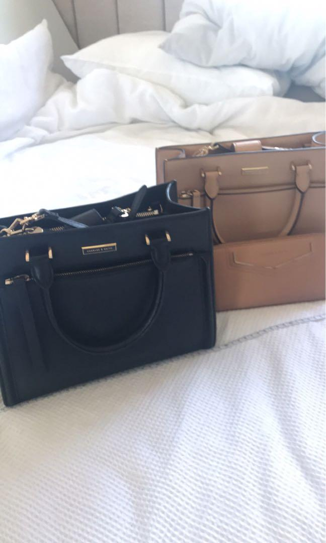 2 x Charles and Keith shoulder small to medium bags and 1 x brown matching wallet