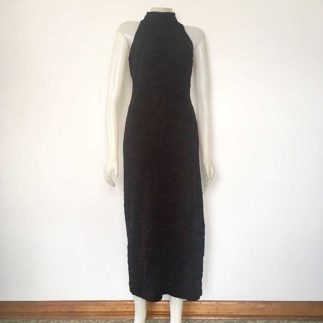 90's black with silver sparkly stitch high neck maxi dress