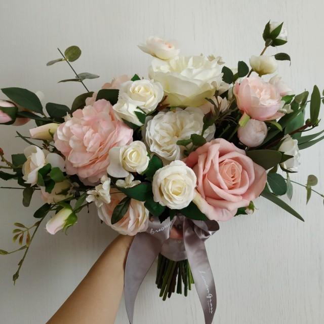 99.99%全新 新娘 Lemongrass 歐式絲花花球 純白色粉紅色玫瑰花
