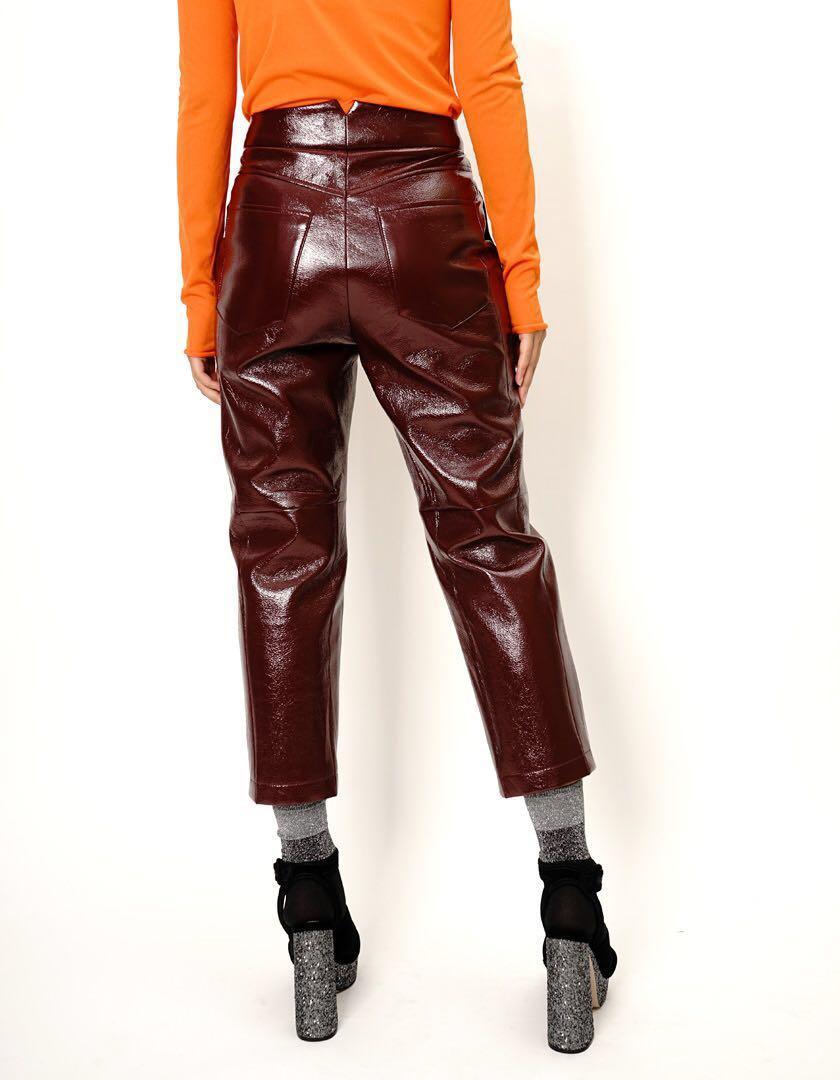 韓國品牌 酒紅色 彷皮 9分褲 Wine Faux Leather Crop Pants