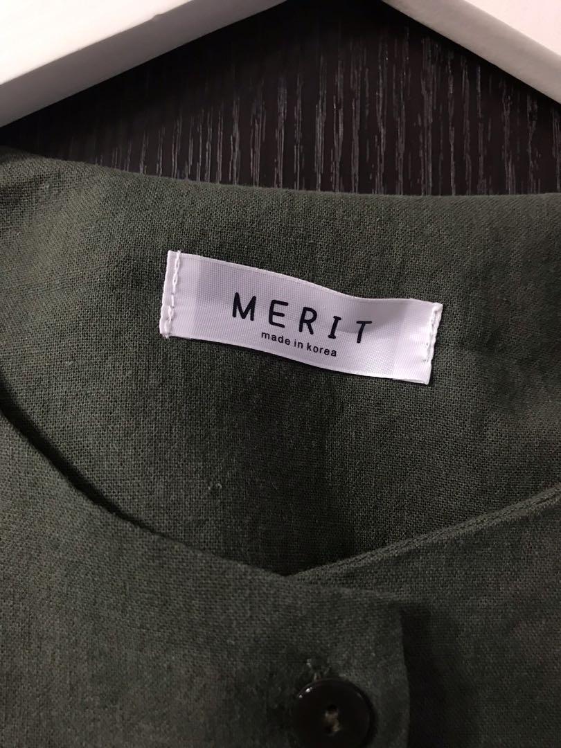<韓國製造🇰🇷> 圓領OPS 連身裙 外套 墨綠色 開叉 口袋 休閒
