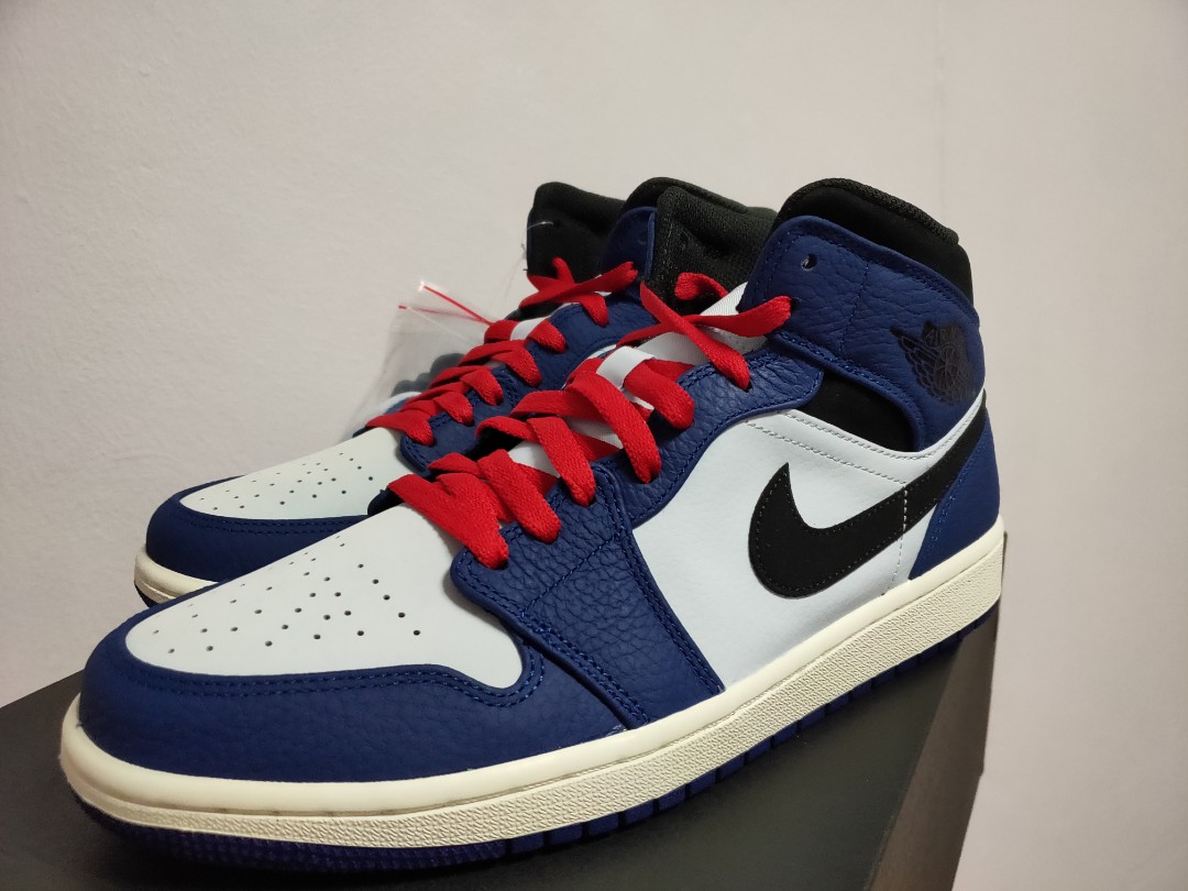 f794e84a324 Air Jordan 1 Mid SE Patriot Blue, Luxury, Shoes on Carousell