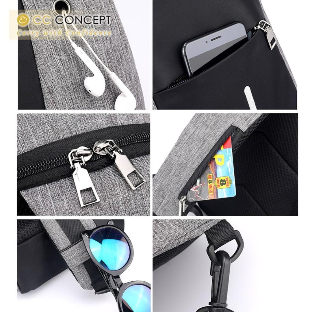 Anti Theft Bag CC CONCEPT Multifunction Anti-Thief USB Charging Messenger Bag