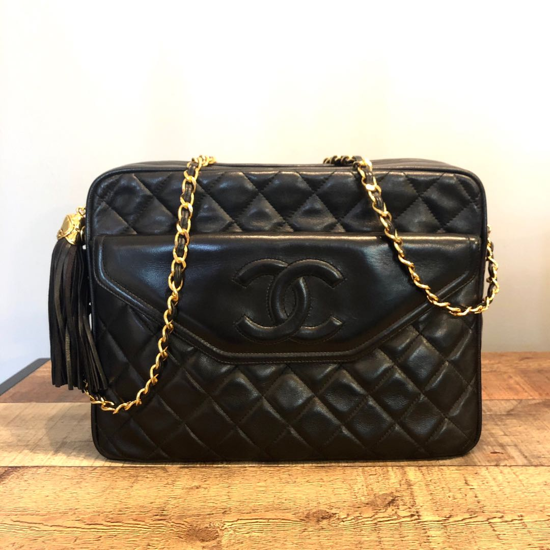 a36bcc867329 Authentic Chanel 11 Inch Camera Lambskin Bag w 24k Gold Hardware ...