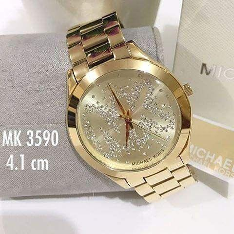 AUTHENTIC MICHAEL KORS SLIM RUNAWAY GOLD TONE LADIES CRYSTAL WATCH STAINLESS STEEL