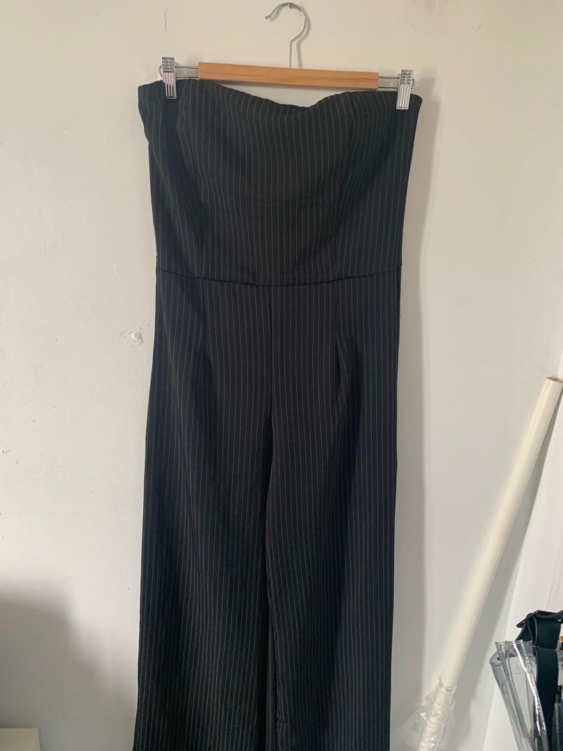 BNWT Pinstripe Jumpsuit straight across tube neckline