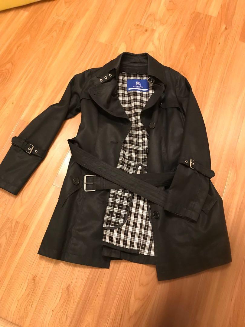 Burberry black rain coat
