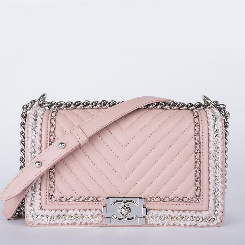 7a575b12aafb Chanel boy flap chevron braid around chain quilted leather bag ...