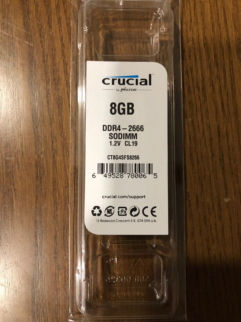 Crucial 8GB DDR4-2666 for laptop