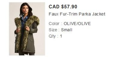 Fur Trim Parka Jacket Olive- removable fur