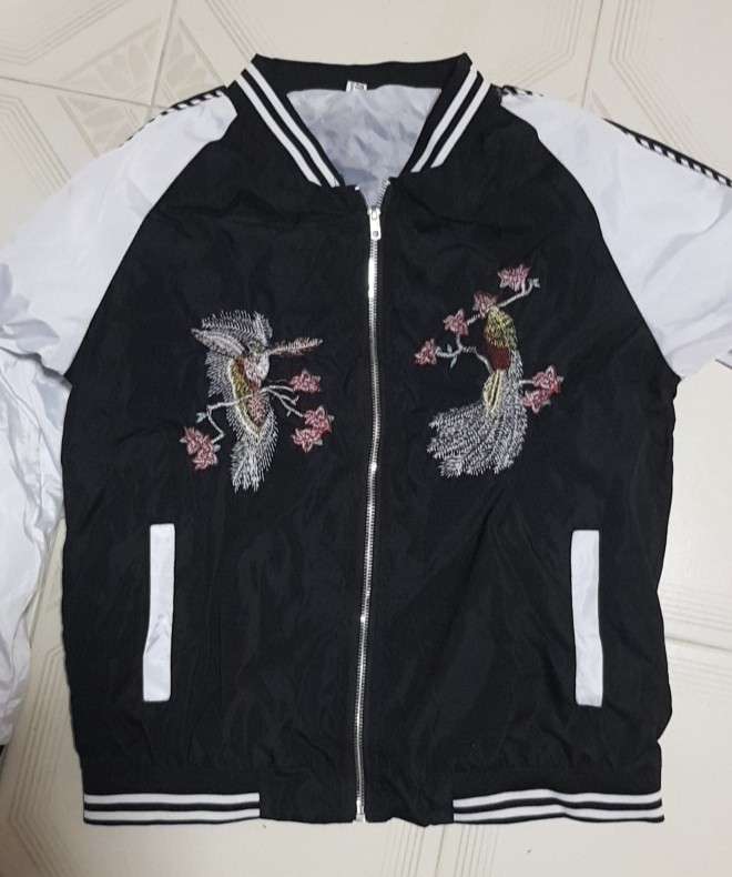 81882ecdb INSTOCK• Phoenix bird Embroidered Bomber Jacket, Women's Fashion ...