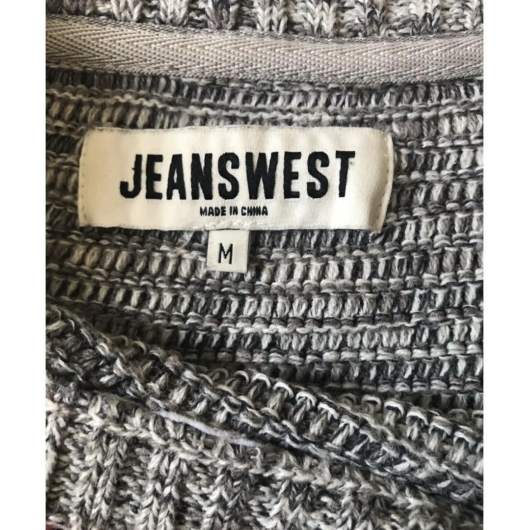 JeansWest Navy Grey Cotton Blend Pullover Knit Jumper Size M
