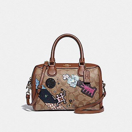 KEITH HARING MINI BENNETT SATCHEL IN SIGNATURE CANVAS WITH PATCHES (COACH F48729)