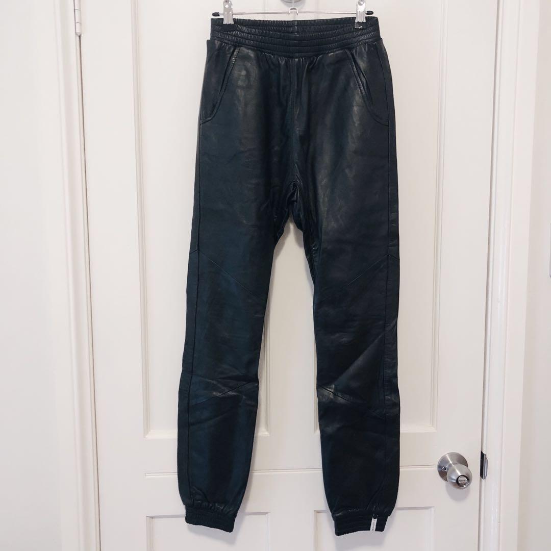 Like New! One Teaspoon genuine leather joggers trackers pants
