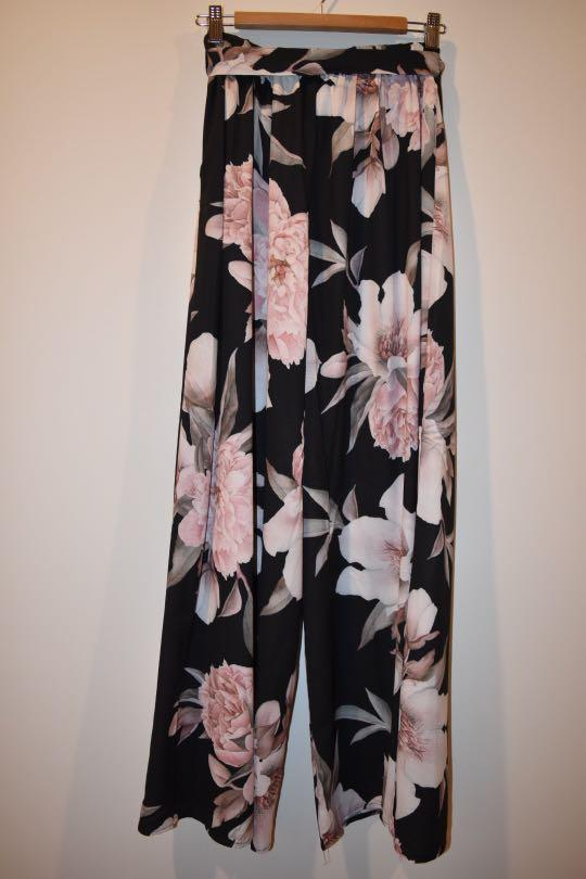 Long Black Wide Legged Dress Pants With Pink Floral Print