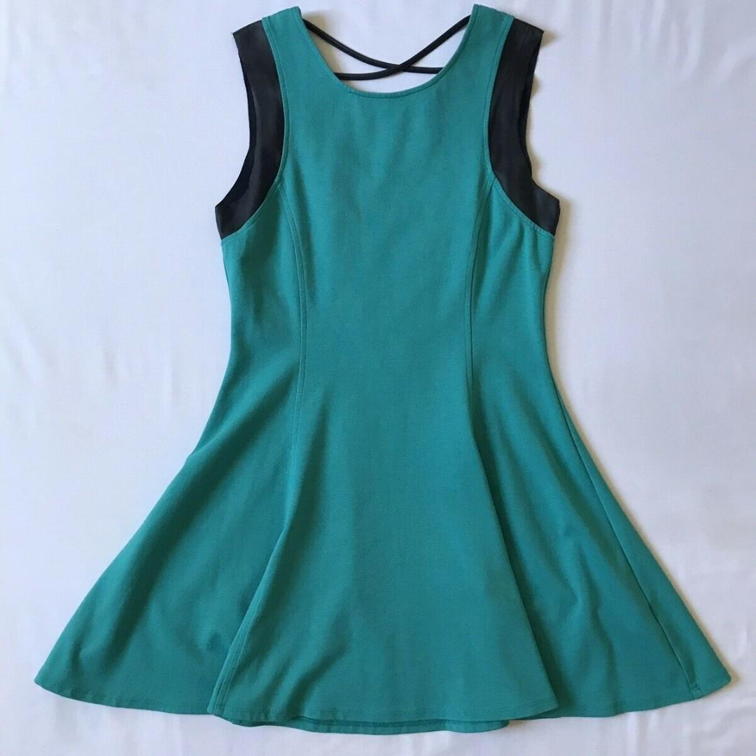 Lucy In The Sky Women's Festival Aquamarine Crisscross A-Line Dress Size 12