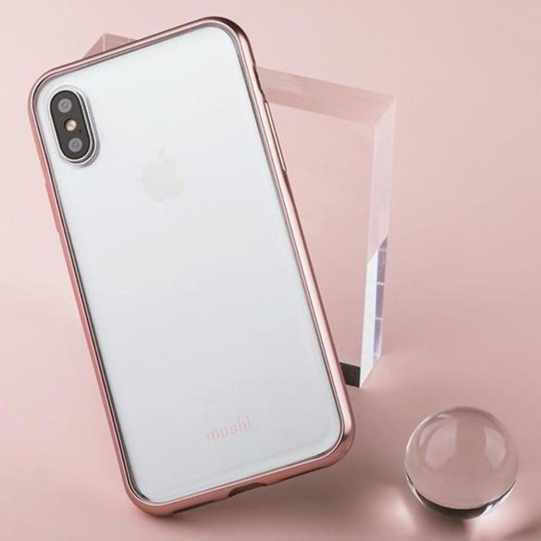 size 40 ba750 41fa6 Moshi Vitros iPhone X clear case Orchid Pink slim cover, Electronics ...