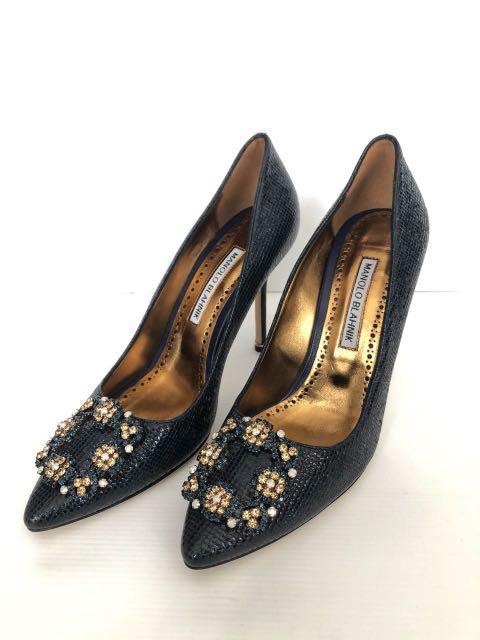 5b6d9828854 NEW Manolo Blahnik Hangisi Navy Leather (limited edition) sz 37.5 ...
