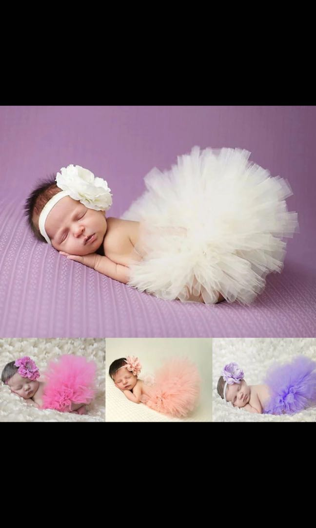 88a9598001 PO) (0M-3M) Newborn Baby Girl Photoshoot Props Tulle Tutu Skirt ...