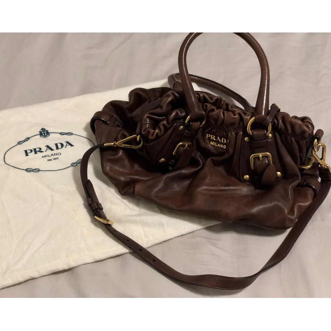 10dea6982b817f Prada Brown Soft Calf Leather Handbag, Luxury, Bags & Wallets ...