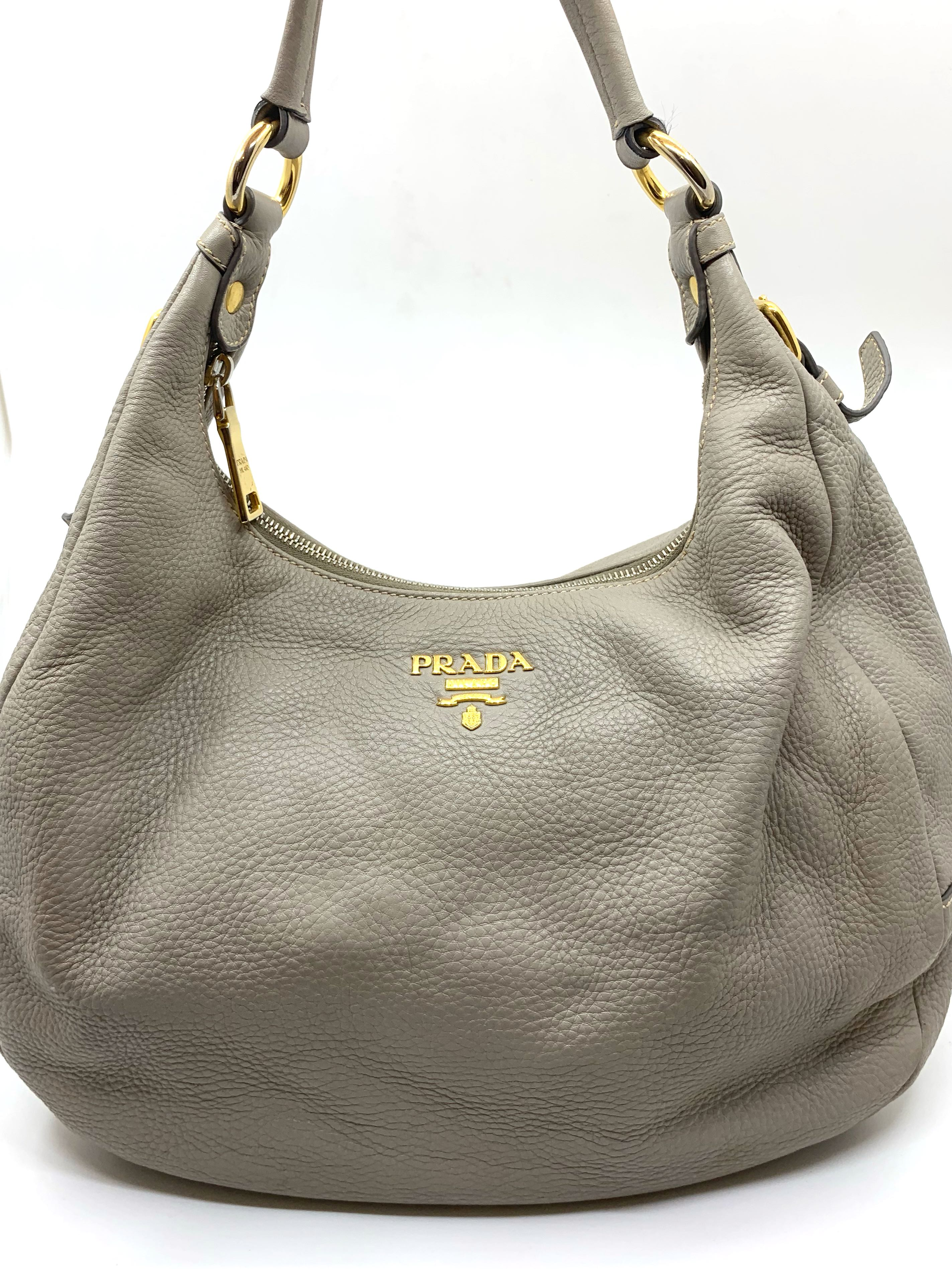 49e9251f6074 Prada Vitello Daino Hobo Medium Bag in Grey, Luxury, Bags & Wallets ...