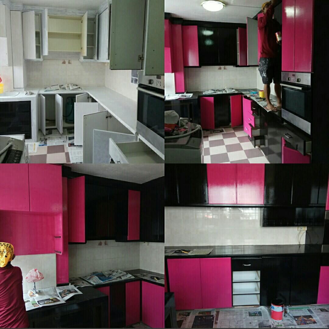 PU paint for toilet,kitchen tiles and kitchen cabinets makeover.