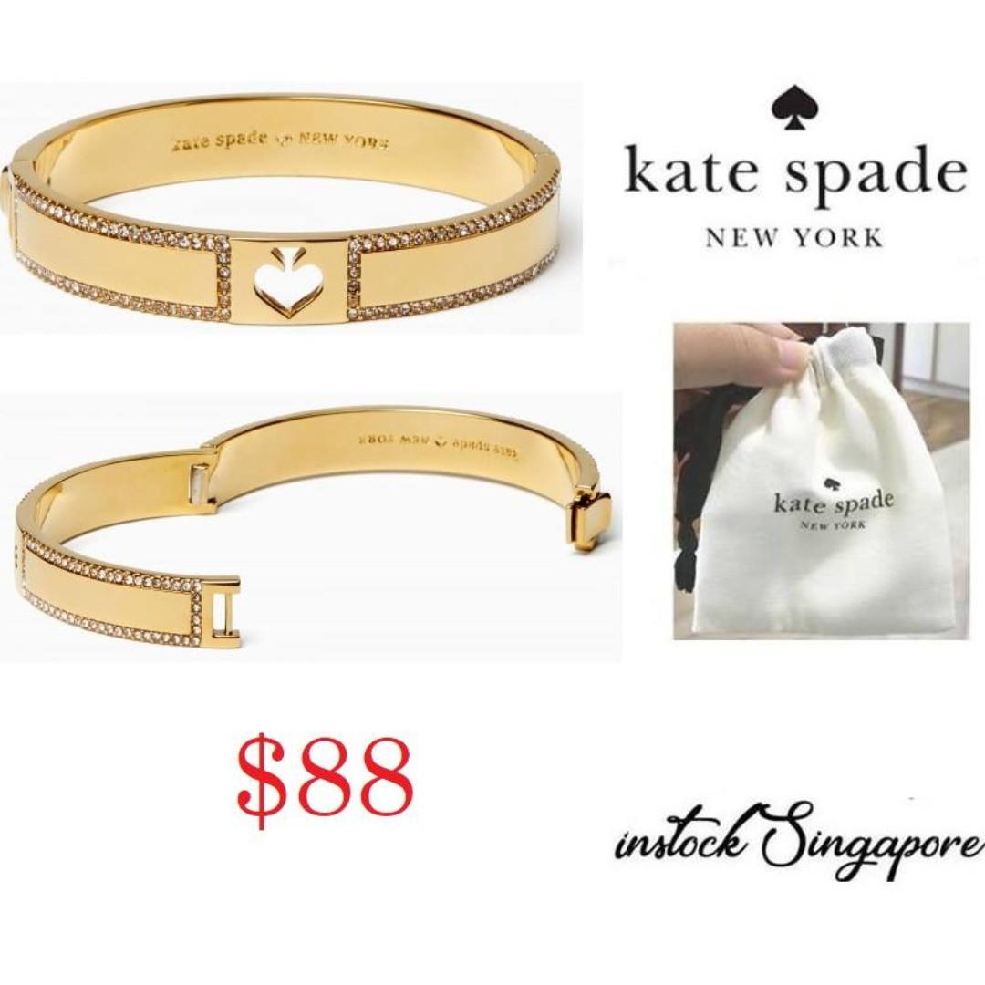 """READY STOCK- AUTHENTIC-NEW Kate Spade Women's """"Hole Punch Spade"""" Gold Tone with Crystals Bangle Bracelet"""