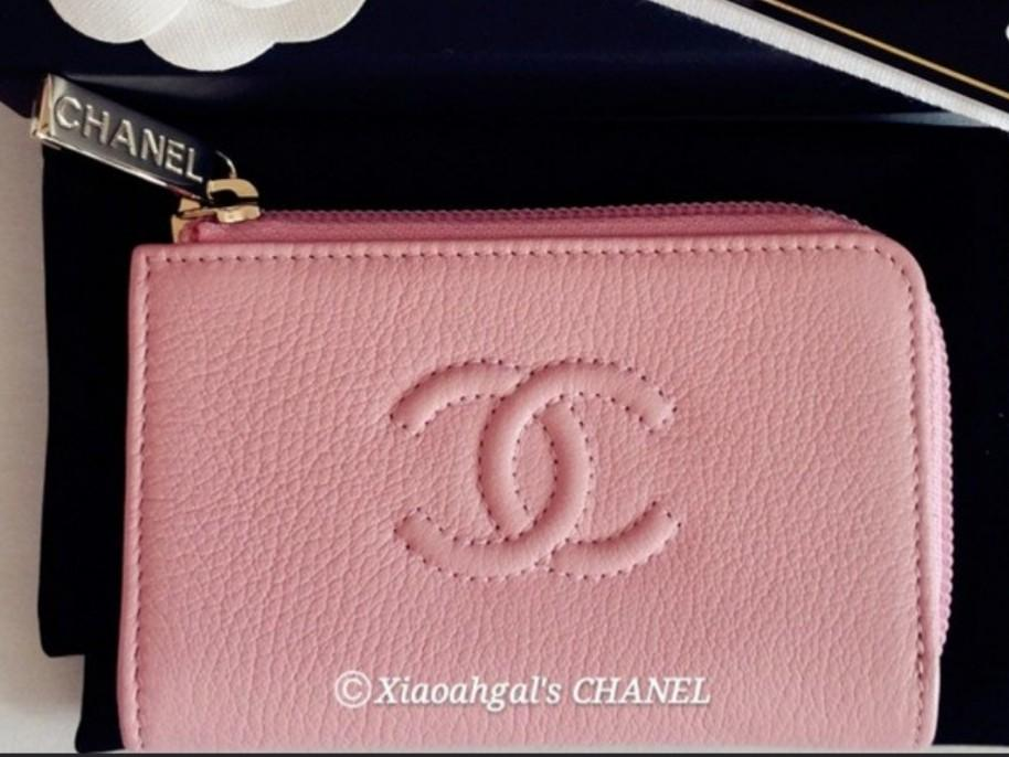 ✔RESERVE in Instalments✔🔴$400 Auction Followers Exclusive🔴Authentic limited seasonal Chanel caviar in pink gold hardware zip key pouch card pholder wallet purse