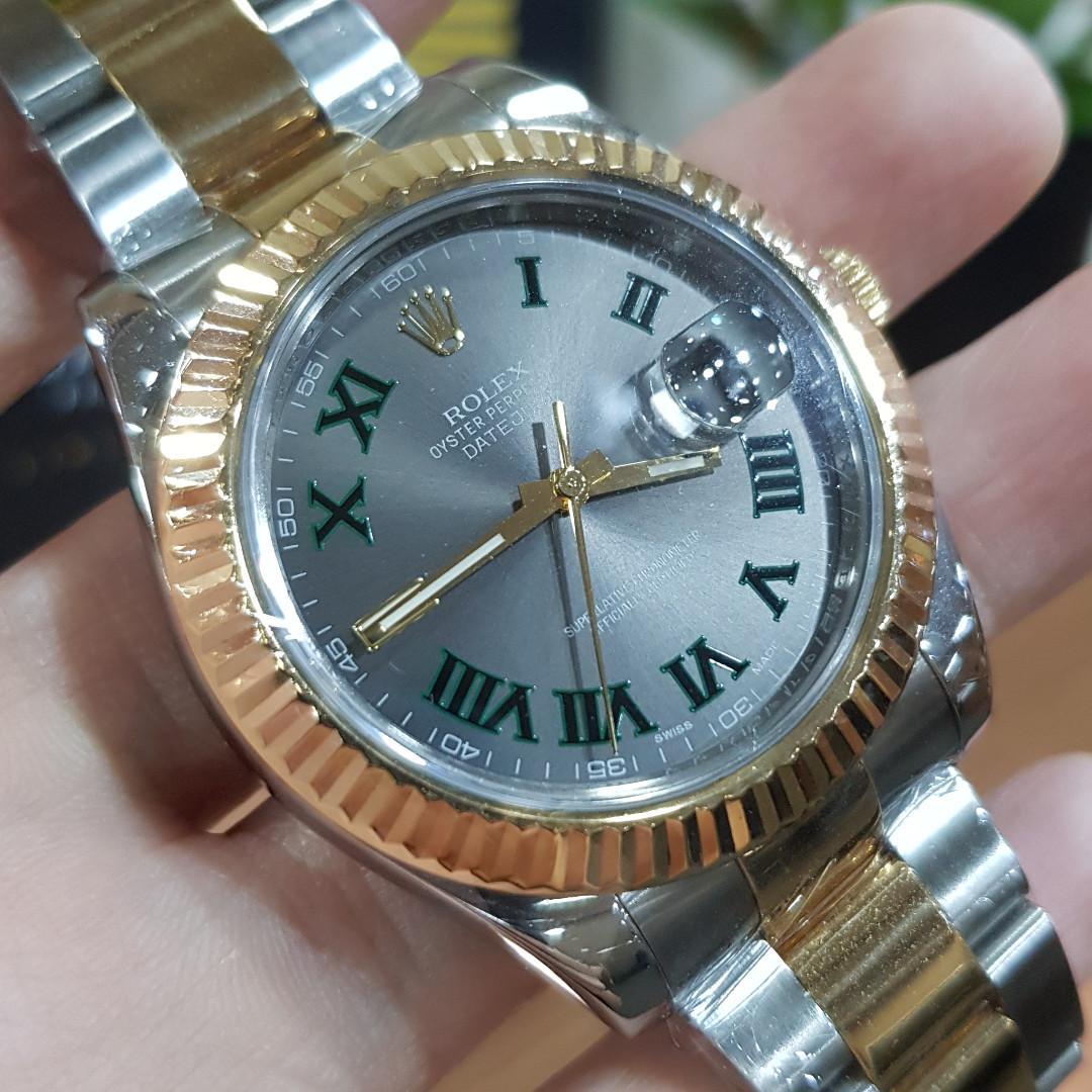 Rolex Datejust 2-Tone Gold/S. Steel 41MM Gray w/Green Roman Dial 116333