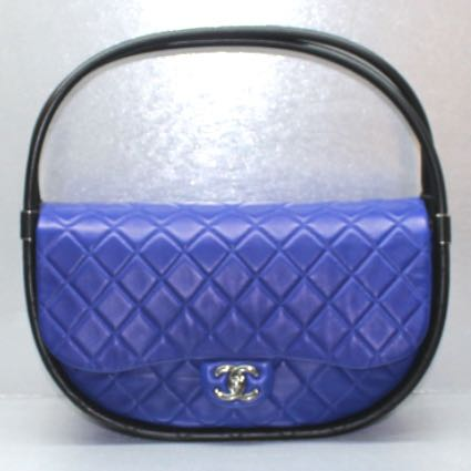 73949b3e17a7cb Chanel Blue/Black Lambskin Hula Hoop, Luxury, Bags & Wallets, Handbags on  Carousell