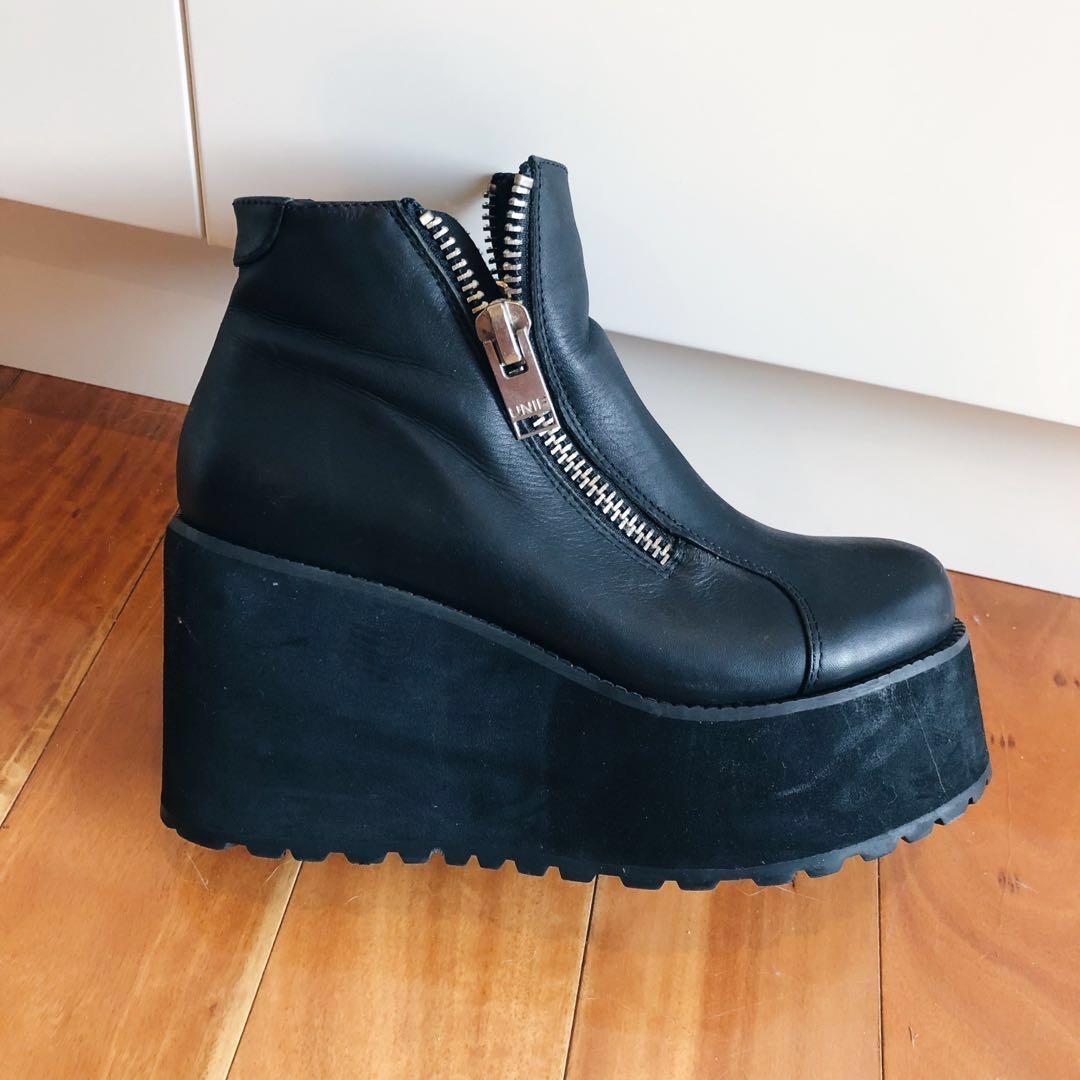 Size 5 UNIF Daria Black Leather Zippered Platform Flatform Combat Ankle Boots Grunge