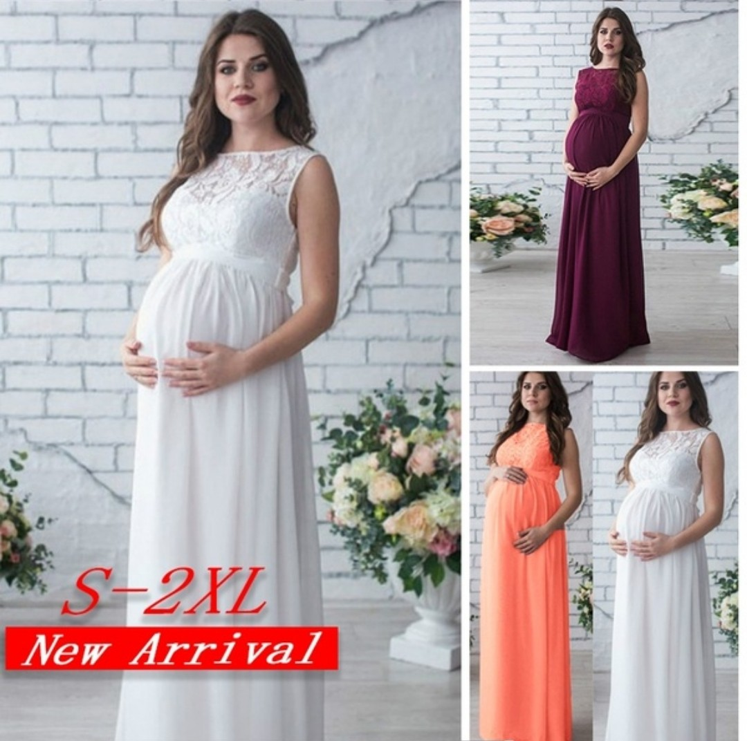 Sleeveless Maternity Decent Maxi Dress For Baby Shower Photoshoot
