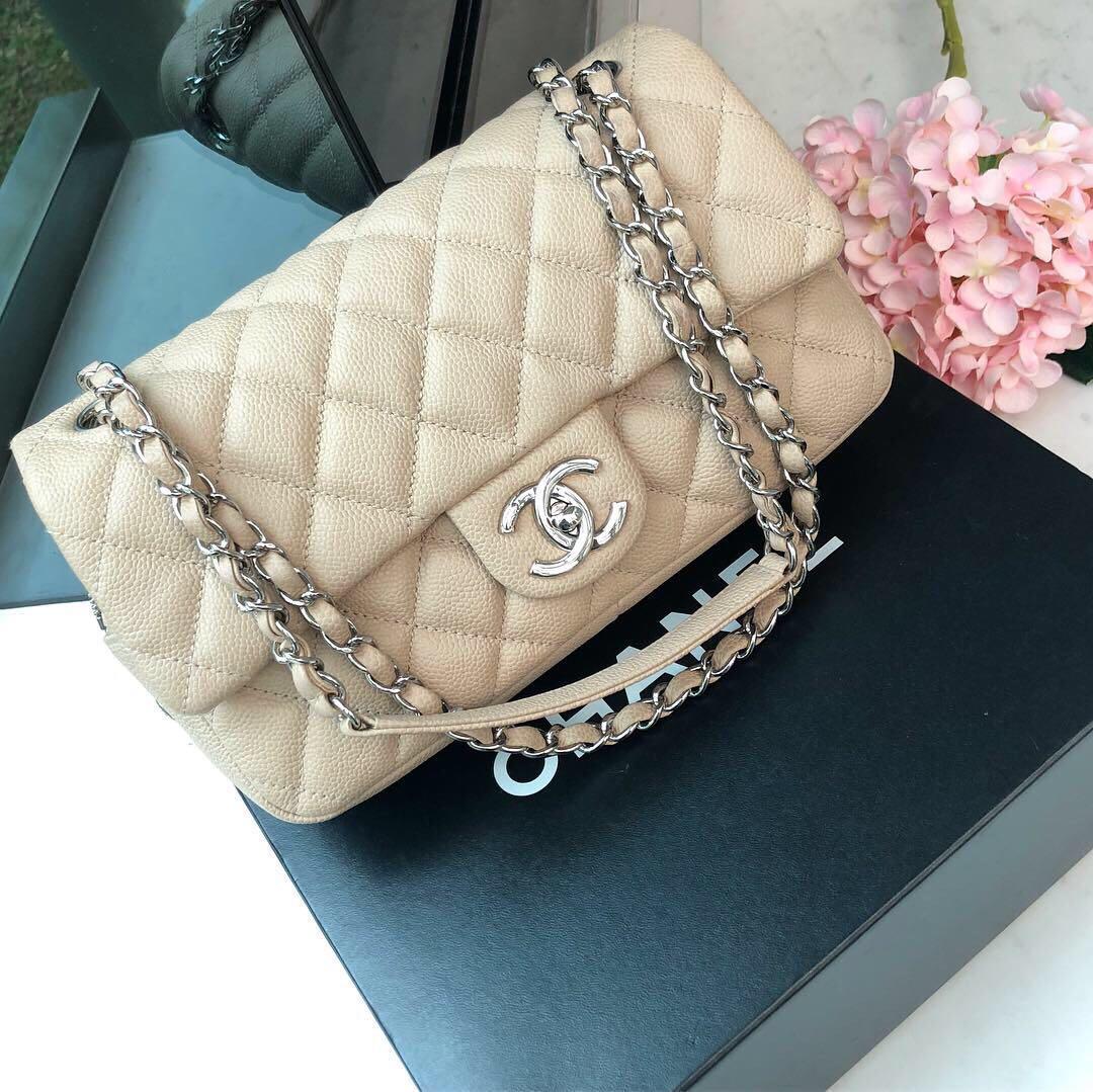 8bbeaf0af1c1ee ✖️SOLD!✖ Good Deal! Chanel Medium Easy Flap in Beige Caviar SHW ...