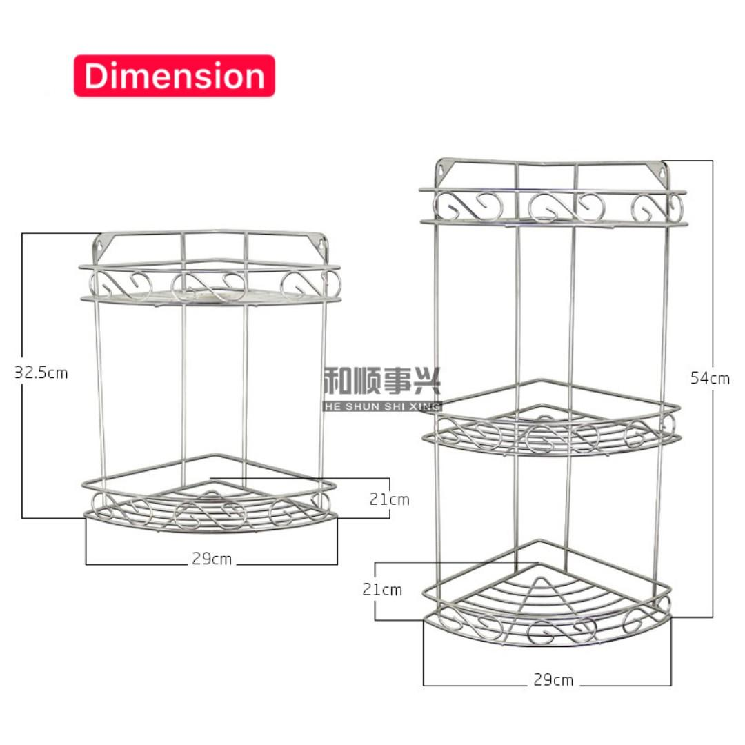 Stainless Steel Corner Shelves Fashionable Shower Bathroom Shelf Rack Triangle Basket Bathroom Corner Basket Corner Rack Toilet Basket Rack