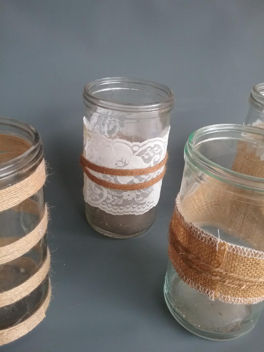Tall Glass Jars w/ Burlap/Heshion Surrounds for Table Settings