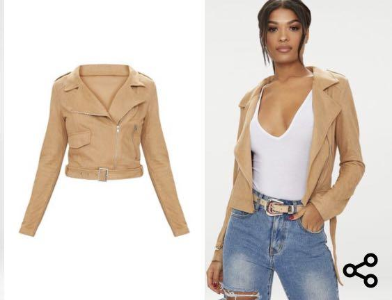 Tan suede biker jacket Pretty Little Thing