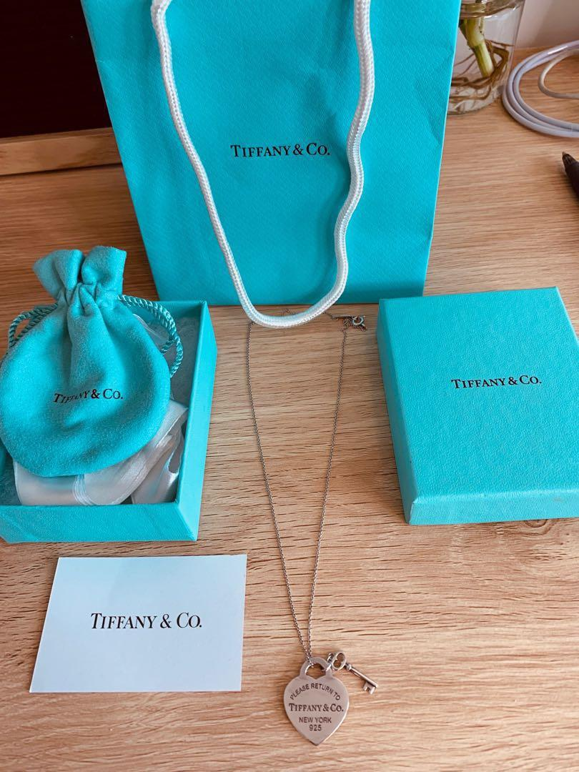 Tiffany & Co - Heart Tag with Key Pendant and Chain - Sterling Silver