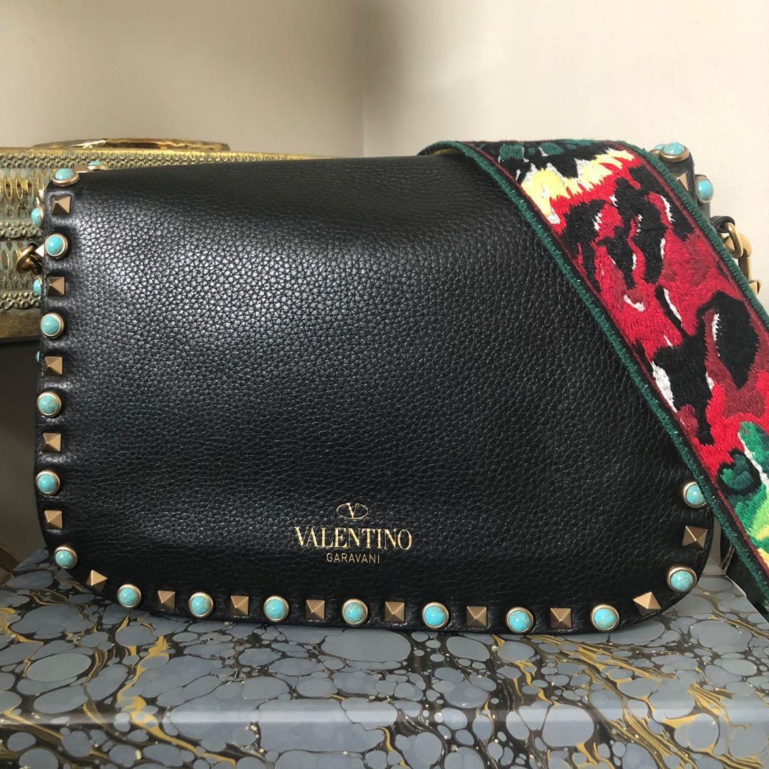 Valentino Garavani Rockstud Guitar Strap Leather Shoulder Bag