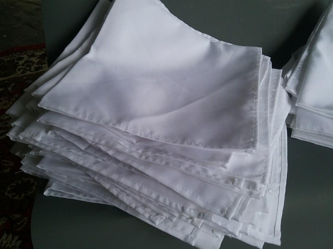White Polyester Table Napkins x 50 for Table Settings