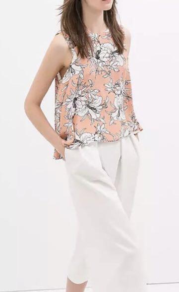 Women's Zara Pink Floral Sleeveless Dress Top Small