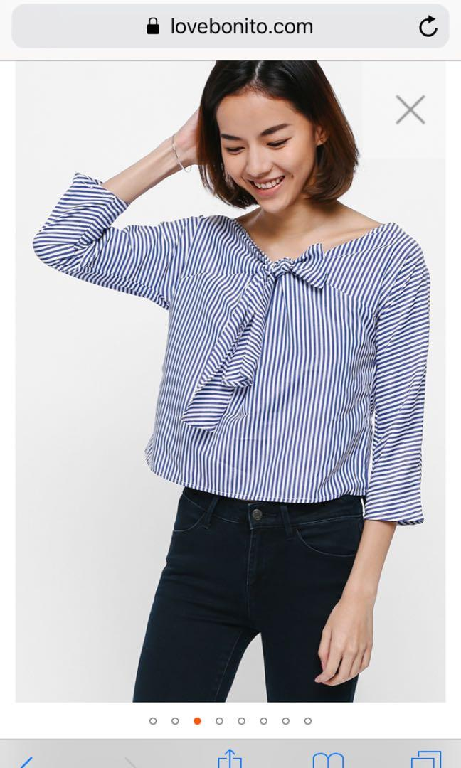 Wyllie Striped Knot Front Top