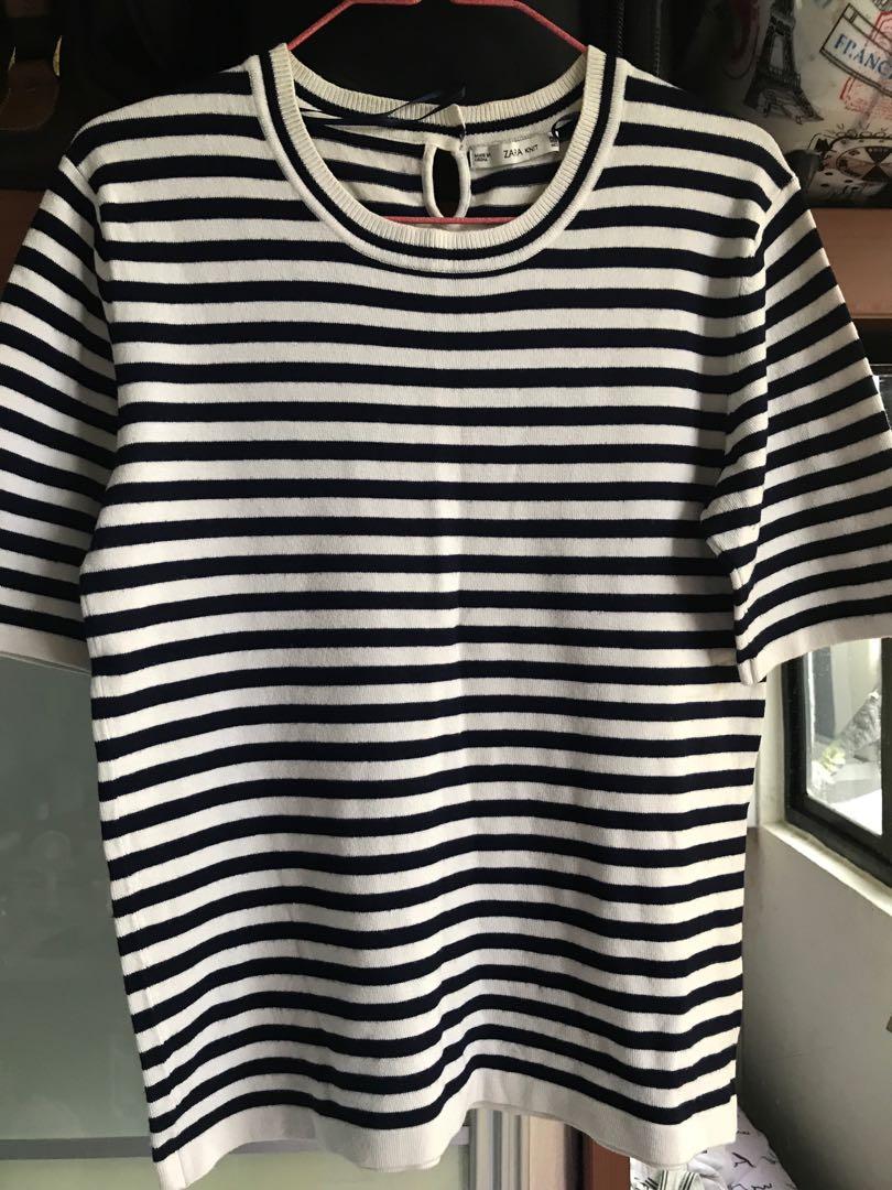 a49de0be83295c Zara knit stripe top tee t-shirt formal, Women's Fashion, Clothes ...