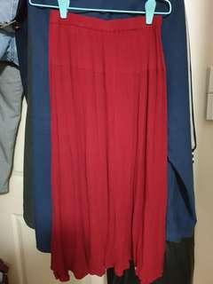 Vivid red skirt