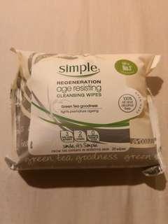SIMPLE REGENERATION AGE RESISTING Cleansing Wipes