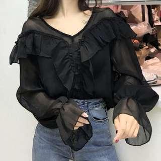 Black blouse雪纺上衣