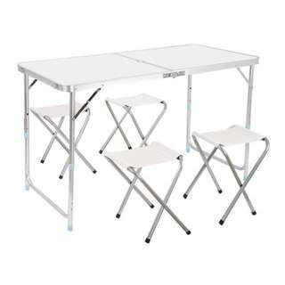 TODAY OFFER - Portable Aluminium Table 120x60cm + 4 Stools